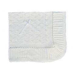 Angels Garment White Knitted Acrylic Satin Bow Blanket