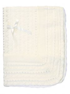 Angels Garment Unisex Baby White Knit Satin Bow Baptism Blanket