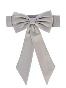Lito Girls Silver Satin Ribbon Embellished Special Occasion Sash NB-12Y