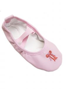 Wenchoice Big Girls Pink Leather Red Bow Detail Ballet Shoes 11-13 Kids