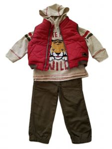 Kids Brand Baby Boys Red Vest Hooded Baby Tiger Shirt Twill Pants Outfit 12-18M