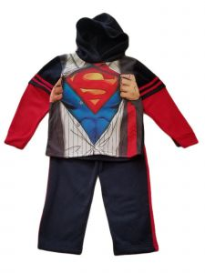Kids Brand Little Boys Red Superman Print Hooded Shirt Pants Outfit 4-6