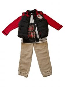 Kids Brand Little Boys Black Vest Bear Print Shirt Twill Pants Outfit 4-7