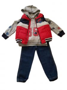 Kids Brand Little Boys Red Football Vest Hooded Shirt Denim Pants Outfit 4-7