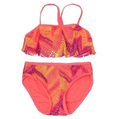 Breaking Waves Big Girls Coral Laser-Cut Overlay 2 Pc Style Swimsuit 7-16