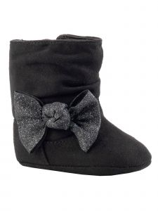 Baby Deer Girls Black Multi-Color Glitter Bow Suedecloth Slouch Boots 0-3 Baby