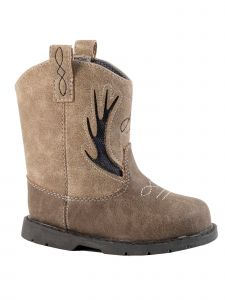 Baby Deer Unisex Brown Taupe Distressed PU Tall Western Boots 2 Baby-5 Toddler