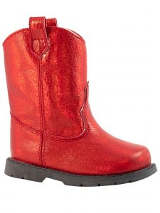 Baby Deer Girls Red Crackle Metallic Round Toe Western Boots 2 Baby-5 Toddler