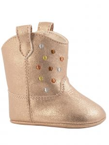 Baby Deer Girls Rose Gold Shimmer Embossed Dots Mid-Calf Boots 0-3 Baby