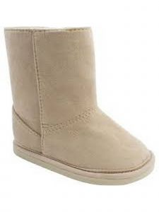 Baby Deer Girls Tan Suede Cloth Stylish Soft Sole Comfy Boots 0-3 Baby