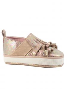 Baby Deer Girls Taupe Iridescent Crackle Side Gore Slip-On Shoes 0-3 Baby
