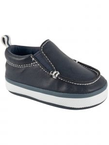Baby Deer Boys Navy PU Slip-On Elastic Gore Casual Soft Sole Shoes 0-4 Baby