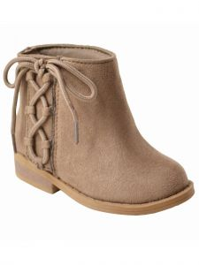 Baby Deer Little Girls Taupe Side Lace-Up Tie Suedecloth Boots 5 Toddler-12 Kids