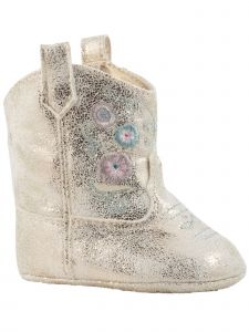 Baby Deer Girls Ivory Champagne Shimmer Flower Embroidery Western Boots 0-3 Baby