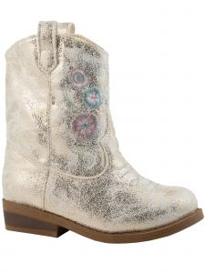 Baby Deer Little Girls Ivory Champagne Shimmer Western Boots 6 Toddler-12 Kids