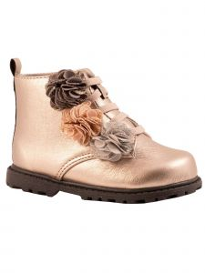 Baby Deer Little Girls Light Bronze Blush Flower Hi-Top Shoes 5 Toddler-12 Kids