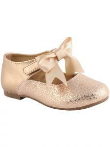 Baby Deer Little Girls Rose Gold Metallic Foil Bow Mary Janes 5 Toddler-12 Kids