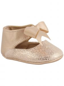 Baby Deer Girls Rose Gold Metallic Foil PU Ankle Strap Bow Dress Shoes 0-3 Baby