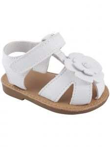 Baby Deer Little Girls White PU T-Strap Flower Overlay Sandals 5-10 Toddler