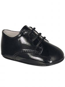 Baby Deer Unisex Black Patent Lace-Up Soft Sole Oxford Dress Shoes 0-4 Baby