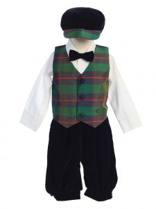 Lito Toddler Boys Green Black Plaid Velvet 5pc Knickers Christmas Outfit 2T