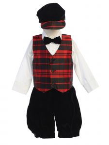 Lito Toddler Boys Plaid Velvet 5pc Shirt Vest Knickers Hat Christmas Outfit 0M-4T