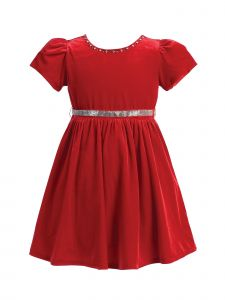 Lito Baby Girls Red Velvet Short Sleeve Jeweled Christmas Dress 18M-24M