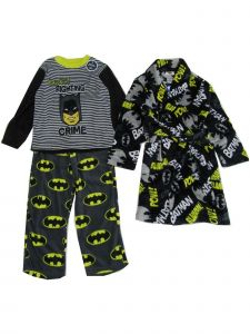 DC Comics Little Boys Black 3pc Batman Fighting Crime Pajama Robe Set 6