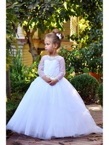 TriumphDress Girls White Crystal Applique Tulle Bella Flower Girl Dress 4-7