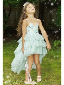 Ooh! La, La! Couture Girls Blue Chloe Stars Hi-Low Flower Girl Dress 3T-7