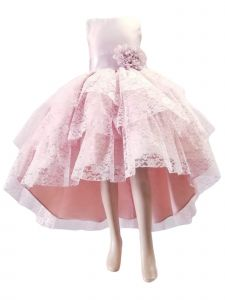 Little Girls Blush Pink High Low Lace Flower Special Occasion Dress 2-6