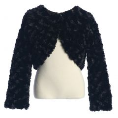 Sweet Kids Little Girls Black Rosette Long Sleeve Faux Fur Elegant Jacket 2-6
