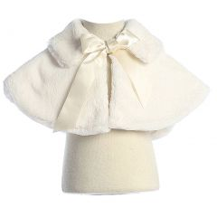 Sweet Kids Baby Girls Ivory Fluffy Faux Ribbon Closure Cape 9-24M