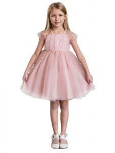 Kids Dream Big Girls Pink Mesh Pearl Accented Knee-Length Easter Dress 8-14