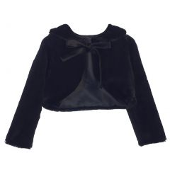 Sweet Kids Big Girls Black Faux Fur Ribbon Long Sleeve Bolero Jacket 8-16