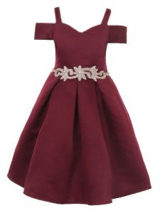 Crayon Kids Little Girls Burgundy Cold Shoulder Rhinestone Christmas Dress 2T-6