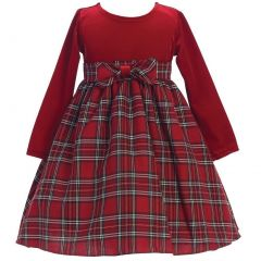 Lito Baby Girls Red Stretch Velvet Plaid Pattern Bow Occasion Dress 3-24M