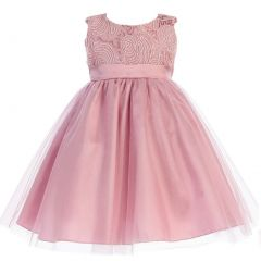 Lito Big Girls Dusty Rose Corded Top Shiny Tulle Occasion Dress 7-10