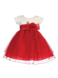 Lito Girls Red Ivory Satin Crystal Organza Bow Accent Christmas Dress 2T-7
