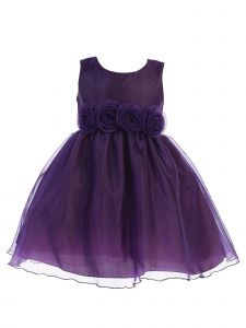 Lito Baby Girls Purple Crystal Organza Flower Trim Christmas Dress 6-24M