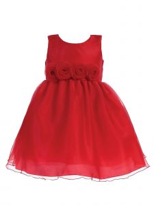 Lito Big Girls Red Crystal Organza Flower Trim Christmas Dress 7-10
