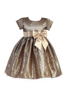 Lito Big Girls Gold Polka Dot Tulle Shiny Satin Bow Christmas Dress 7-10