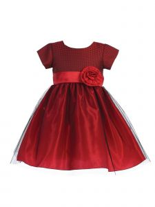 Lito Baby Girls Red Jacquard Crystal Tulle Short Sleeve Christmas Dress 3-24M