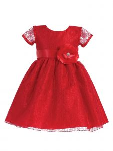 Lito Girls Lace Covered Glitter Center Flower Accent Christmas Dress 2T-7
