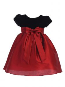 Lito Big Girls Red Black Velvet Ribbed Poly Silk Ribbon Christmas Dress 7-10