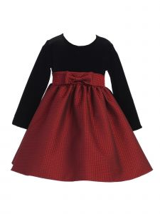 Lito Baby Girls Red Black Velvet Jacquard Long Sleeved Christmas Dress 3-24M