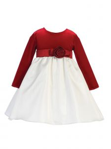 Lito Girls Ivory Red Velvet Jacquard Long Sleeved Christmas Dress 2T-7