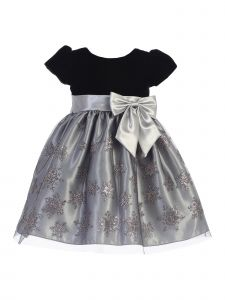 Lito Baby Girls Silver Black Velvet Glitter Tulle Christmas Dress 3-24M