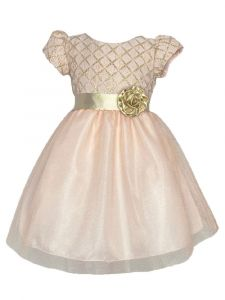 Lito Girls Blush Diamond Pattern Gold Sash Flower Christmas Dress 2T-7