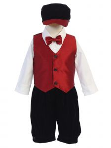 Lito Little Boys Black Red Vest Shirt Bowtie Velvet Knickers Hat 5 Pc Set 2T-5